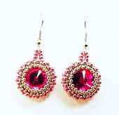 Rivoli Earring Beadwork Earring Kit with SWAROVSKI® ELEMENTS Fucshia/Silver